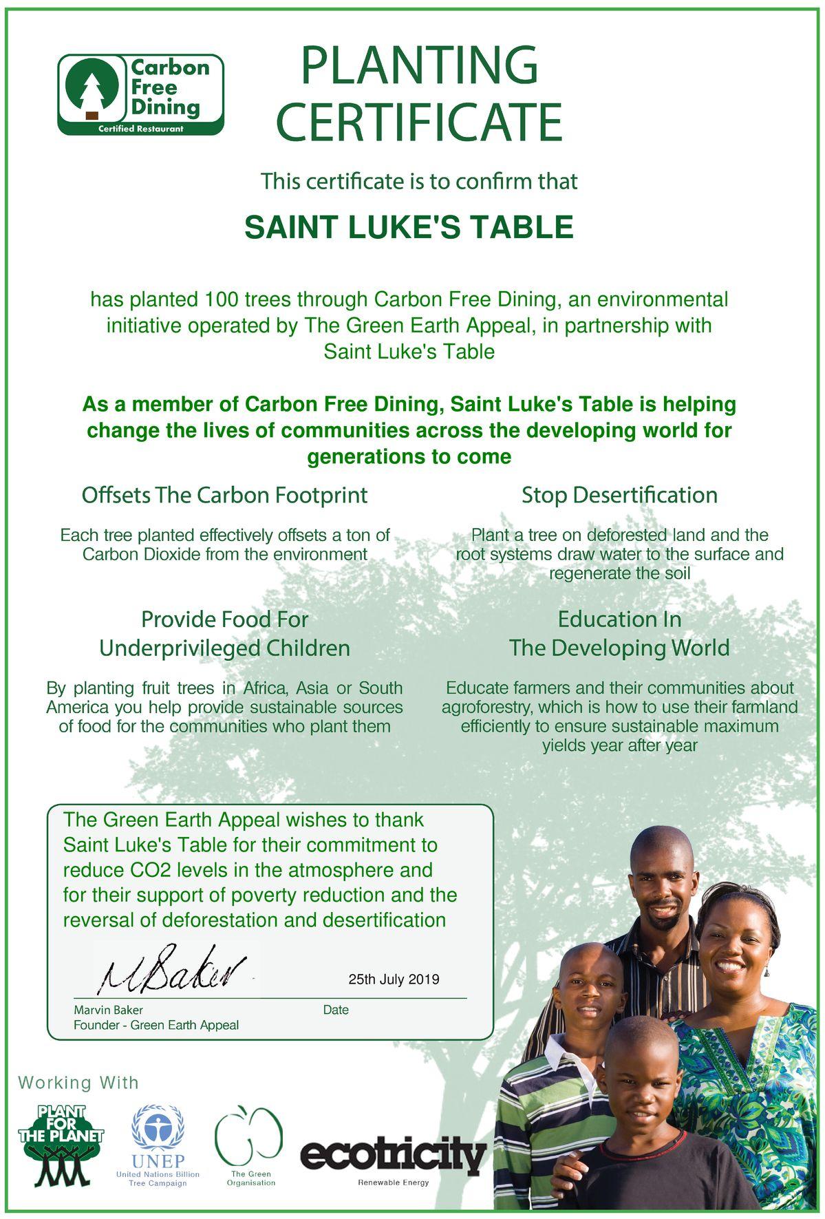 La table de saint Luc